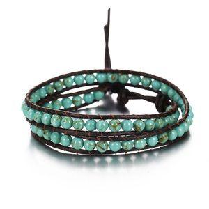 Jewelry - Double Wrap Turquoise/Leather Bracelet
